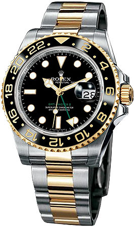 Rolex GMT Master II Series Mens Automatic 18kt Yellow Gold and Stainless Steel Wristwatch 116713-BSO