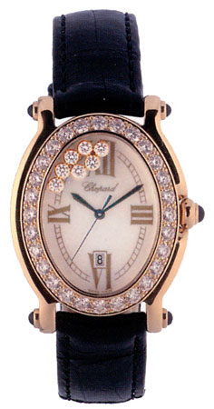 Chopard Happy Sport Series 18kt Yellow Gold Black Ladies Diamond Watch 277000-2311