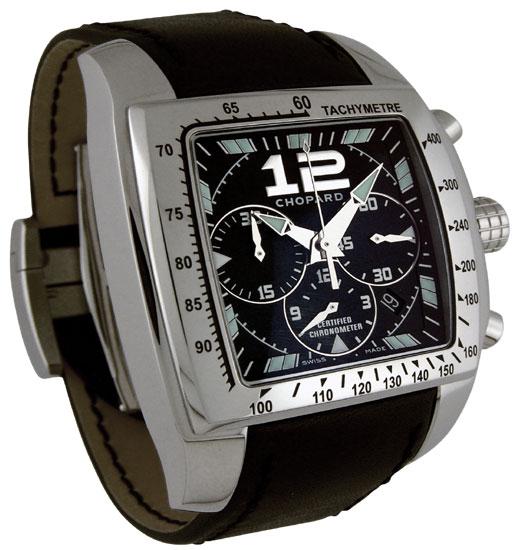 Chopard Miglia Tycoon Series Steel Black Chronograph Mens Swiss Quartz Watch 168961