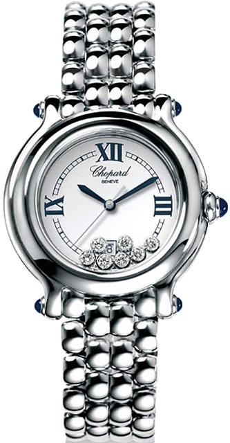 Chopard Happy Sport Series Diamond Steel Ladies Swiss Quartz Wristwatch 278236-23