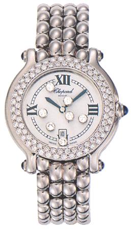 Chopard Happy Sport Series Diamond Steel Ladies Swiss Quartz Wristwatch 278291-23