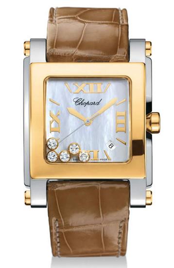 Chopard Happy Sport Series Diamond Two Tone Stainless Steel Ladies Swiss Quartz Wristwatch 288471
