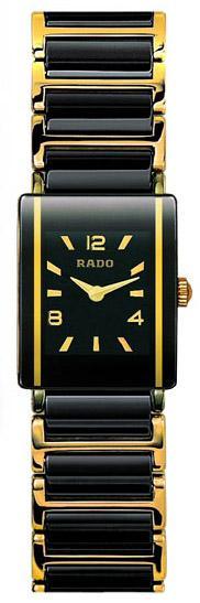 Rado Integral Series Black Ceramic with 18kt Yellow Gold Quartz Mini Ladies Watch R20383192