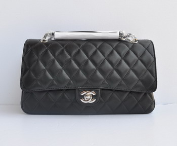 Chanel Marble 2.55 Double Flap Handbag 1113 Black with Silver Chain