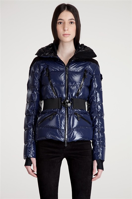 Moncler Navy Blue Down Jackets with Black Belt