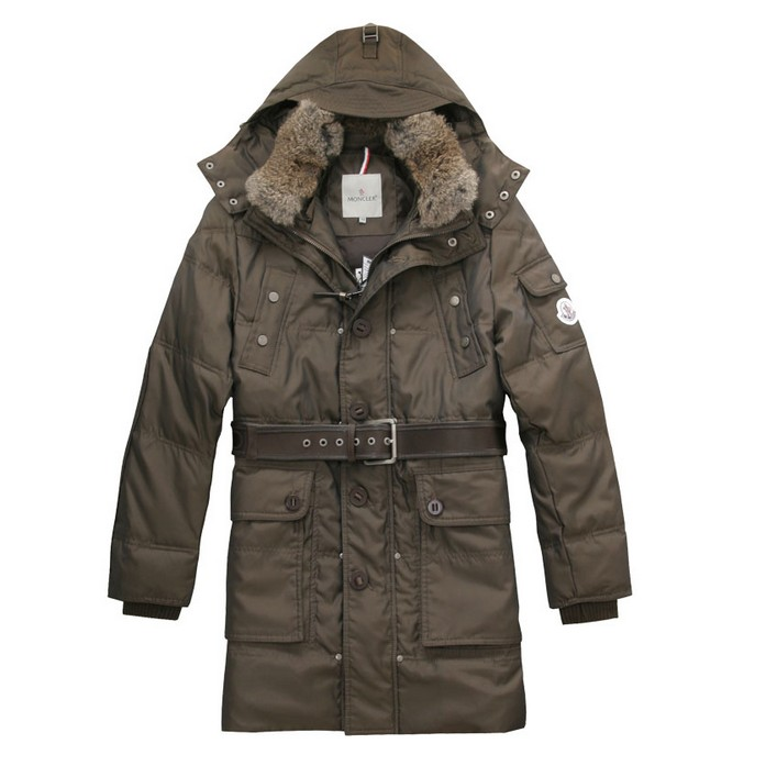 Moncler mens Coats Hooded Down Navy Brown