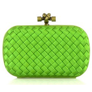 Bottega Veneta Impero Satin Clutch 113085 Green