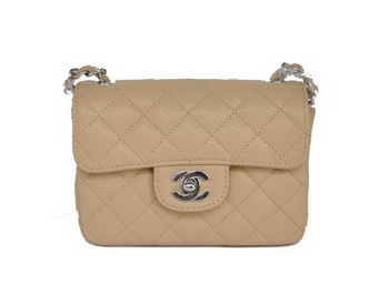 Chanel 2.55 mini Flap Bag 1115 Beige Sheepskin Silver Hardware