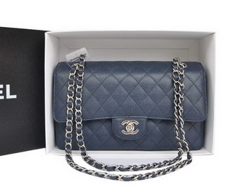 Chanel A1112 2.55 Series Flap Bag Original Cannage Leather Blue
