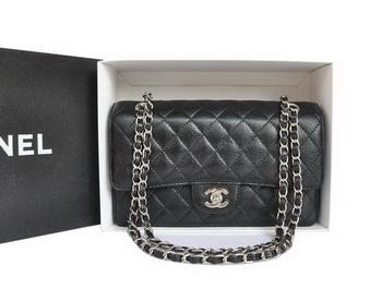 Chanel A1112 2.55 Series Flap Bag Original Caviar Leather Black