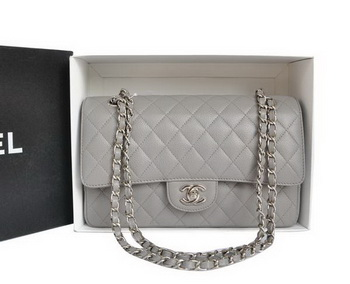 Chanel A1112 2.55 Series Flap Bag Original Caviar Leather Grey