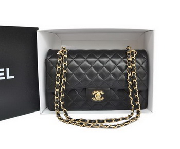 Chanel A1112 2.55 Series Flap Bag Original Leather Black Gold