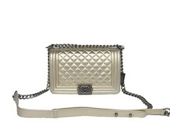 Fashion Chanel A67086 Light Gold Le Boy Flap Shoulder Bag Silver