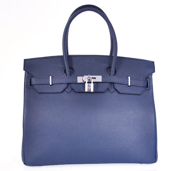 Hermes Birkin 35CM Smooth Leather Handbag 6089 Dark Blue Silver