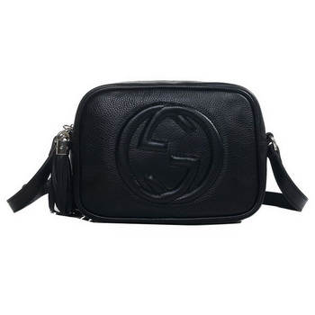 Gucci 308364 A7M0G 1000 Soho Black Leather Disco Bag