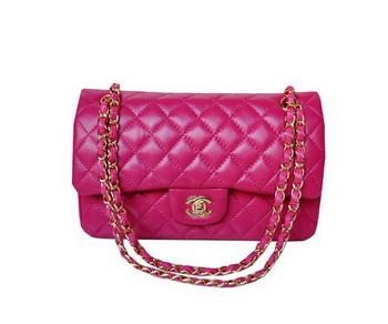 Chanel A01112 Classic Flap Bag Plum Sheepskin Gold