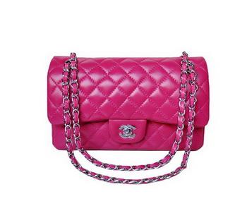 Chanel A01112 Classic Flap Bag Plum Sheepskin Silver