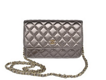Chanel A33814 Silver Sheepskin Leather Flap Bag Gold