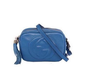 Gucci Soho Calfskin Leather Disco Bag 308364 Blue