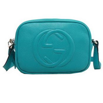 Gucci Soho Calfskin Leather Disco Bag 308364 Aquamarine