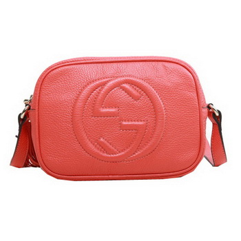 Gucci Soho Calfskin Leather Disco Bag 308364 Light Red