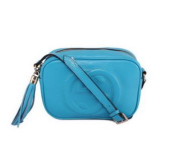 Gucci 308364 Soho Calf Leather Disco Bag Blue