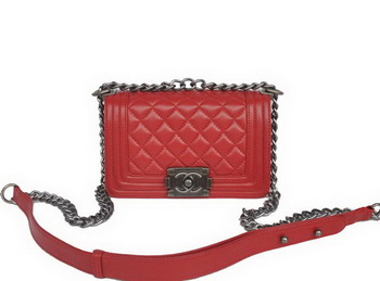 Boy Chanel Small Flap Shoulder Bag Sheepskin Leather A67086 Red