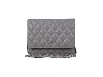 Chanel A33814 Original Cannage Leather mini Flap Bag Grey