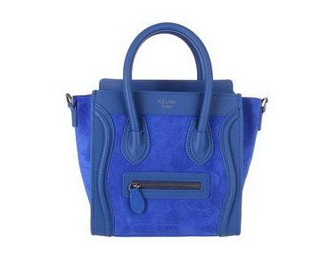 Celine Luggage Nano Shopper Bag Nubuck Leather C88029 RoyalBlue