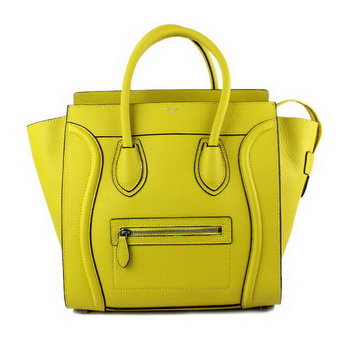 Celine Luggage Mini Shopper Bag Original Leather 16521 88022 Lemon