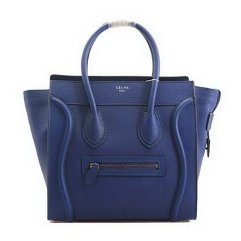 Celine Luggage Micro Boston Bag Clemence Leather RoyalBlue