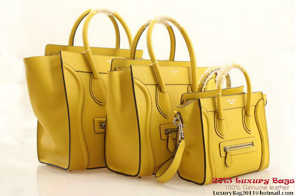 Celine Luggage Mini Boston Bags Clemence Leather Lemon