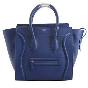 Celine Luggage Mini Boston Bags Clemence Leather RoyalBlue