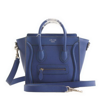 Celine Luggage Nano Boston Bags Clemence Leather RoyalBlue