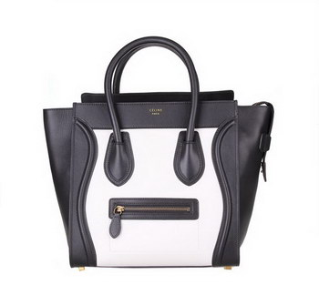 Celine Luggage Mini Shopper Bag Original Leather 88022 Black&White