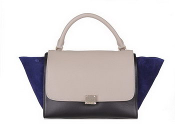 Celine Trapeze Bag Calfskin & Nubuck 88037 Black&Gray&RoyalBlue
