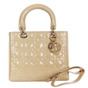 Lady Dior Bag mini Bag D9601 Apricot Patent Leather Gold