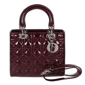 Lady Dior Bag mini Bag D9601 Burgundy Patent Leather Silver