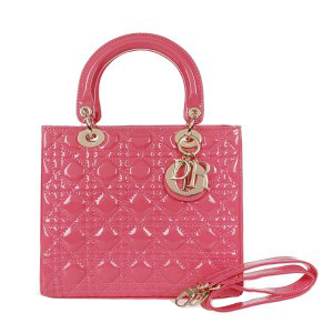 Lady Dior Bag mini Bag D9601 Peach Patent Leather Gold