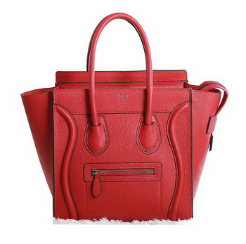 Celine Luggage Micro Boston Bag Clemence Red
