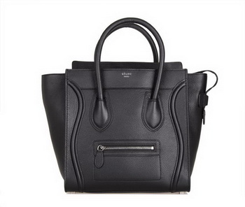 Celine Luggage Mini Tote Bag 88022 Black Fluorescence Leather