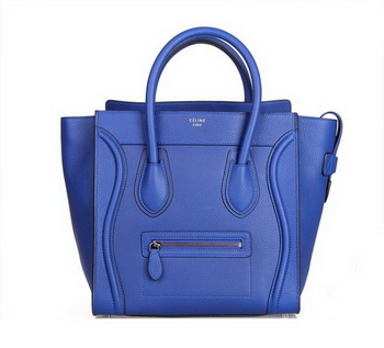 Celine Luggage Mini Tote Bag 88022 Blue Fluorescence Leather