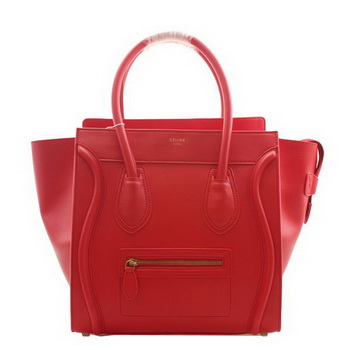 Celine Luggage Mini Boston Bags Clemence Leather Red