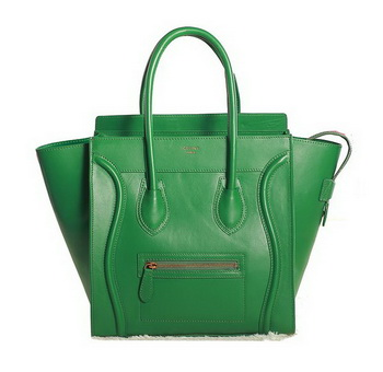 Celine Luggage Mini Boston Tote Bags Original Leather Green
