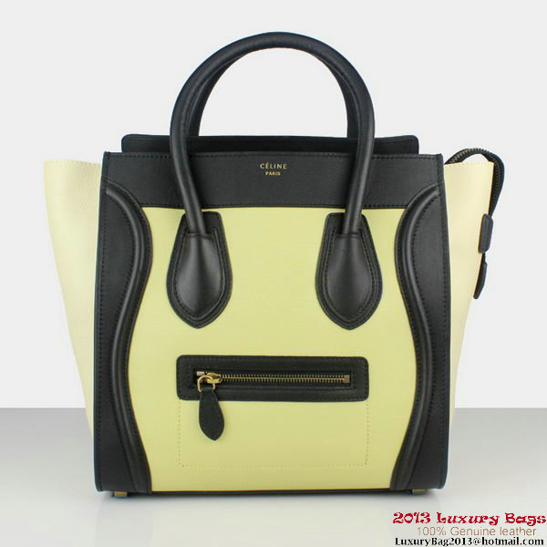 Celine Luggage Mini Tote Bag Original Leather 88022 White&Black&Light Yellow