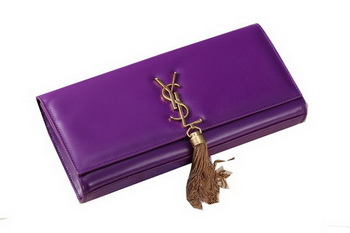 Yves Saint Laurent Classic Monogramme Tassel Clutch Bag Y041 Purple