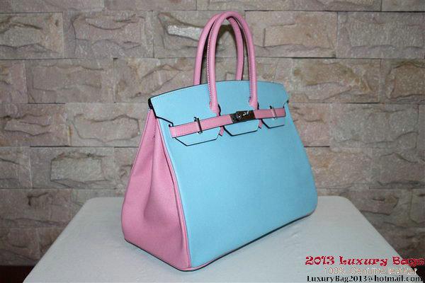 2013 Hot Sale Hermes Birkin 35CM Tote Bag Calf Leather Pink&Light Blue