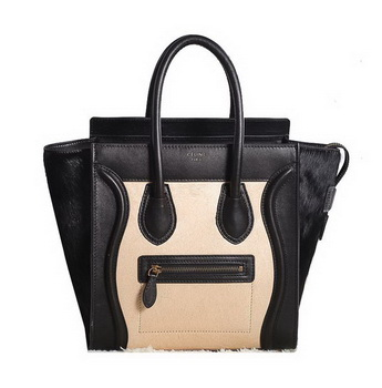 Celine Luggage Micro Boston Bag Horsehair 3307 Black&Apricot