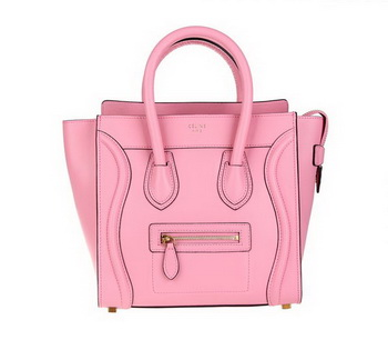 Celine Luggage Micro Tote Bag Original Ferrari Leather 88023 Pink