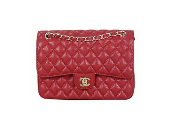 Chanel 2.55 Series Flap Bag Red Original Cannage Patterns Leather A1112 Gold
